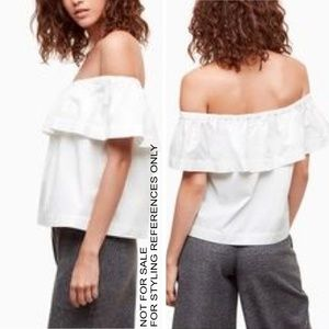 Wilfred XXS Hollande White Off Shoulder Ruffle Top